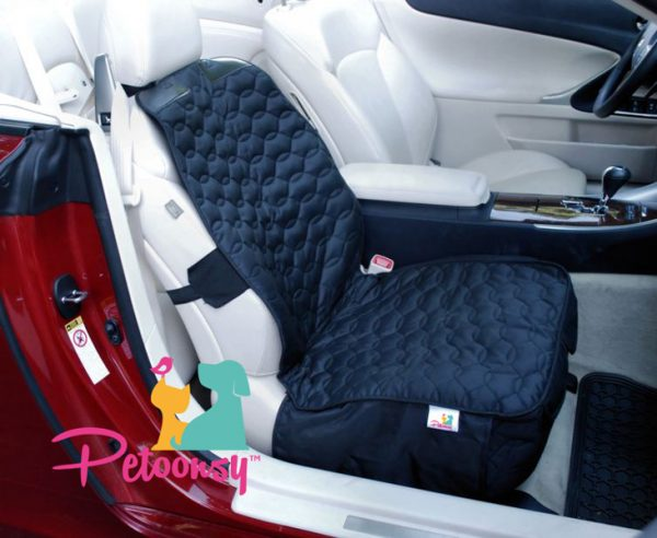 Petoonsy® Bucket Seat Cover for Dogs (quilted with nonslip backing, fitted skirt, seat anchor. headrest straps and side flaps)